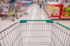 Closeup of trolley for shopping at supermarket Stock Image