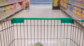 Closeup of trolley for shopping at supermarket Royalty Free Stock Photo