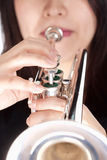 Closeup of Trumpet Player Playing. Isolated on White Stock Image