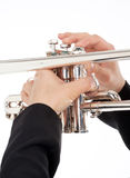 Closeup of Trumpet Player Playing Royalty Free Stock Photography