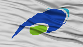 Closeup of Tsu Mie Flag, Capital of Japan Prefecture Stock Image