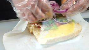 Closeup tuna sandwich. Very closeup video tuna sandwich preparing fhd footage stock footage