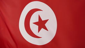 Closeup of Tunisian flag in slow motion. Closeup of a national Tunisian flag in slow motion stock video