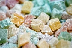 Turkish delight closeup. Closeup of turkish delight jelly pieces in various colors Royalty Free Stock Photos