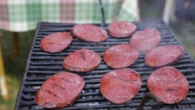Closeup Turkish sausages cooking on the barbecue grill stock footage