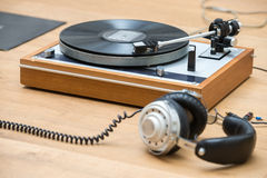 Closeup Of Turntable And Headphones Royalty Free Stock Photo