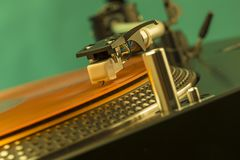 Closeup of turntable needle Royalty Free Stock Image