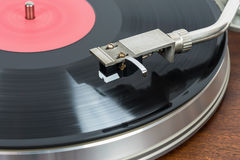 Closeup of turntable with vinyl record Royalty Free Stock Images