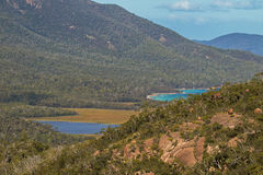 Closeup of turquoise waters of Promise Bay next to Wineglass Bay. Tasmania`s famous east coast in Freycinet National Park, Tasmania island, Australia Stock Images
