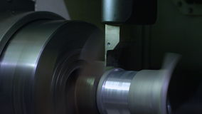Closeup Turret Lathe Turns Detail with Shavings at Plant stock footage