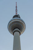 Closeup of TV tower or Fernsehturm in Berlin during winter evening with soft colors, Germany Stock Images