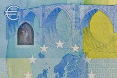 Closeup of twenry Euro banknote Stock Images