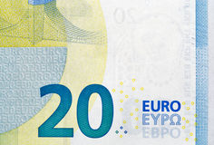 Closeup of twenry Euro banknote. Twenty Euro banknote fragment macro, back side Stock Photo