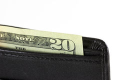 Closeup twenty dollars in wallet Royalty Free Stock Images