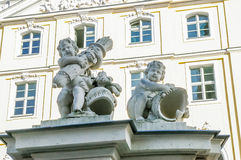 Closeup of two angel statues Royalty Free Stock Photography