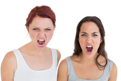 Closeup of two angry young female friends shouting Royalty Free Stock Images