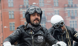 Closeup of two bikers wearing leather clothes Stock Photos