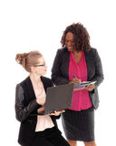 Closeup of two businesswoman working. Stock Photos