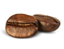 Closeup two coffee beans isolated on white with path Stock Photo