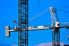 Closeup of two Cranes. Two Cranes against a blue sky background Royalty Free Stock Photo