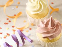 Party with Confetti and Cupcakes stock image