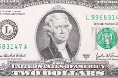 Closeup of two dollar bill. Royalty Free Stock Images
