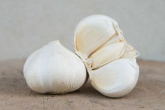 Closeup two Garlic on timber with Cement Background Stock Photography