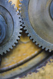 Closeup of two gears. Work parts machine gears closeup stock image