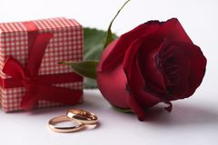 Closeup of Two gold wedding rings with pink gift box royalty free stock image