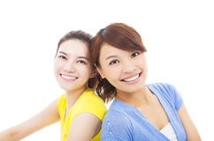 Closeup of two happy young girls Royalty Free Stock Image