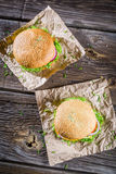 Closeup of two homemade burgers made from fresh vegetables Royalty Free Stock Photo