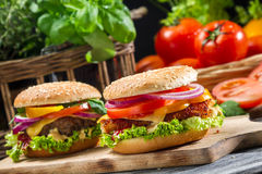 Closeup of two homemade hamburgers made from fresh vegetables Stock Image