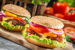 Closeup of two homemade hamburgers Stock Photo