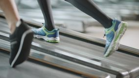 Closeup two pair of feet moving on treadmill in fitness gym. Fit shoes walking on running machine. Athletic legs training running exercises in sport club stock video footage