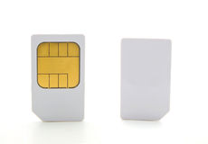 Closeup  of a two sim card for cell phones. Stock Photography