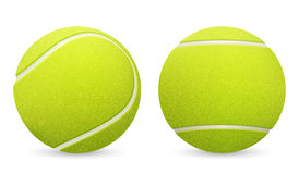 Closeup of two vector tennis balls isolated on white background. Royalty Free Stock Image