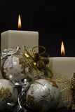 Closeup from two white candles. Royalty Free Stock Photography