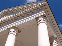 Closeup of two white columns Royalty Free Stock Photography