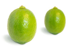 Closeup of two whole ripe lime fruits Stock Images