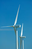 Closeup of two windturbines Royalty Free Stock Photography