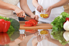 Closeup of two women are cooking in a kitchen. Friends having fun while preparing fresh salad Stock Images