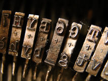 Closeup of a typewriter. An old typewriter closeup stock images