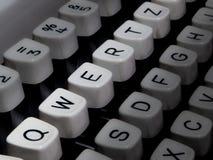 Closeup of typewriter keyboard, QWERTZ highlighted Royalty Free Stock Photos