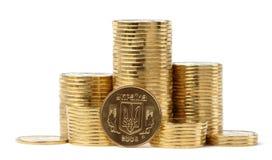 Closeup of Ukrainian coins Stock Photography