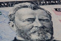 Ulysses S. Grant portrait on 50 dollar bill. Closeup of Ulysses S. Grant portrait on 50 dollar bill stock photos