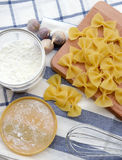 Closeup of uncooked italian pasta Stock Images