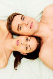 Closeup of undressed sensual couple Stock Photos