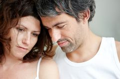 Closeup of unhappy mature couple together Stock Photography
