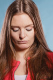 Closeup of unhappy woman. Face expression. Stock Image
