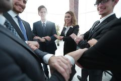 Closeup. unified business team . The concept of teamwork Royalty Free Stock Photos